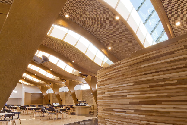 Metsä Group's interior design timber structures.