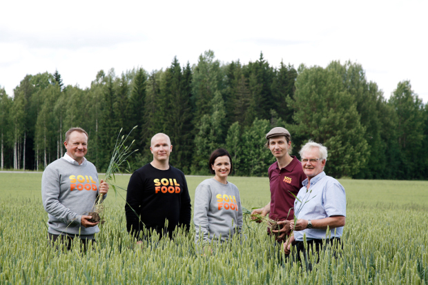 Soilfood's five workers in a field.