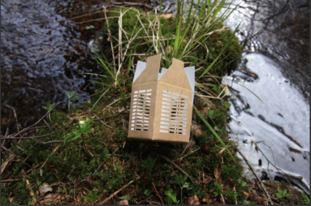 eco egg box next to water.
