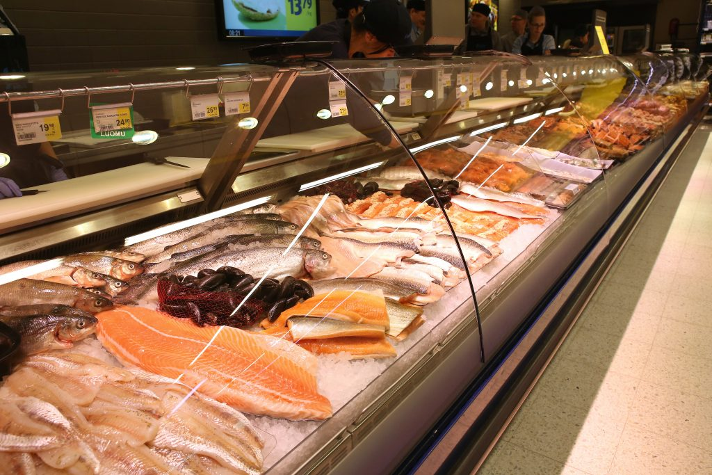 Fish counter in a supermarket.