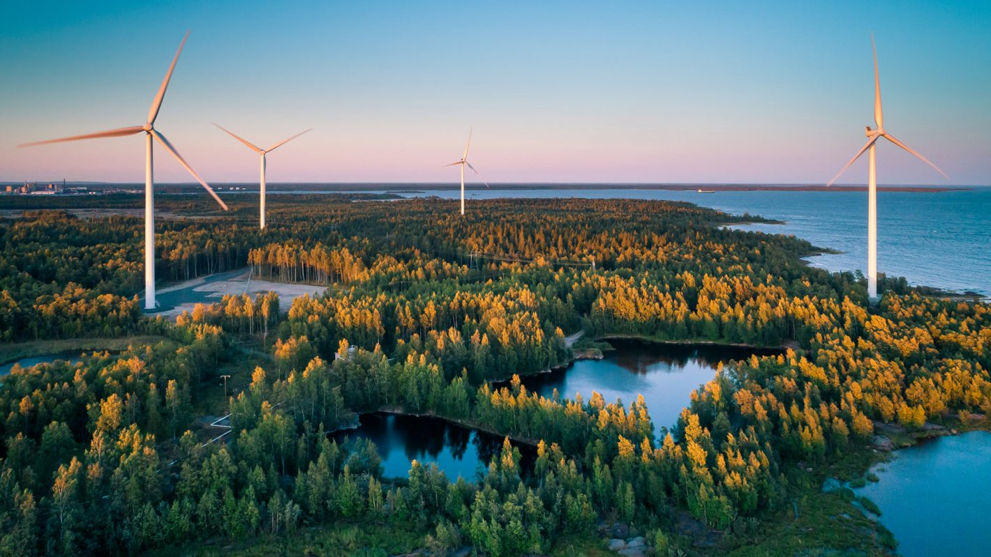 Windpower stations in forested landscape.