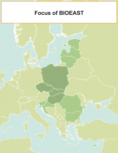 Map showing the countries of focus for Bioeast.