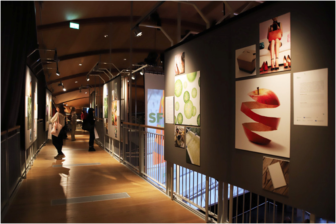An exhibition hall with photographs.