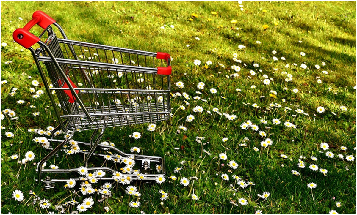 SHopping cart on a grass with daisies.