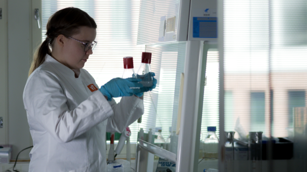 Anna Ylinen examines samples in the laboratory.