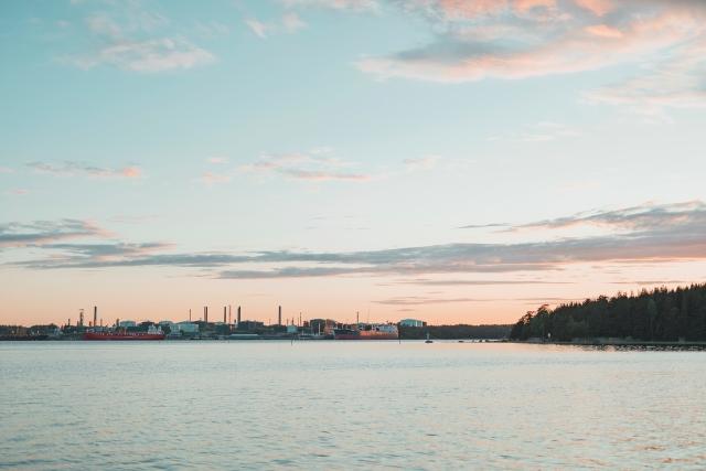 Across the sea is the Neste's Porvoo refinery.