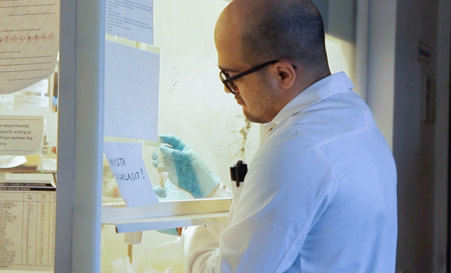Research scientist Pezhman Mohammadi at his work in a laboratory.